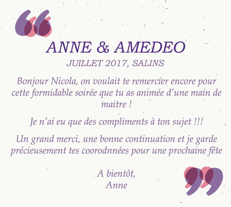 Lettre de remerciements mariage Anne & Amedeo